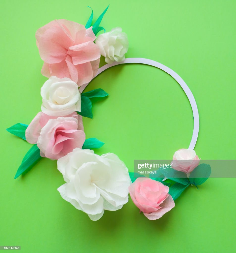 Round Frame With Color Paper Flowers On The Green Background Flat