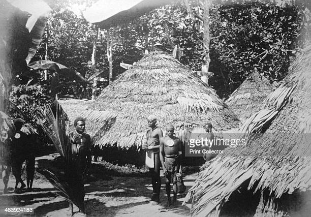 Round houses of natives at Timotu Santa Cruz 1892 A photograph taken at Graciosa Bay where the Spaniards under Mendana attempted to found a colony in...