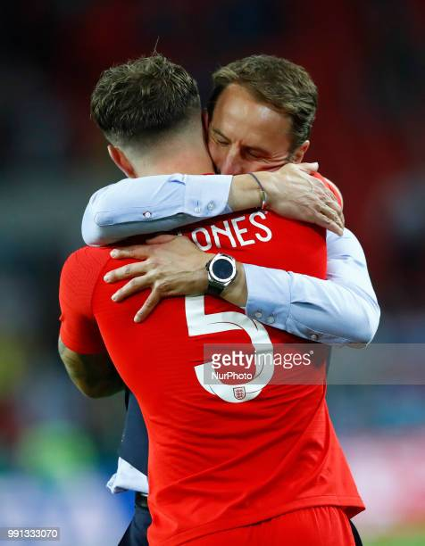 Round of 16 England v Colombia FIFA World Cup Russia 2018 England coach Gareth Southgate celebrates with John Stones at Spartak Stadium in Moscow...