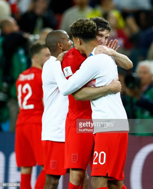 Round of 16 England v Colombia FIFA World Cup Russia 2018 John Stones and Dele Alli celebrate at Spartak Stadium in Moscow Russia on July 3 2018