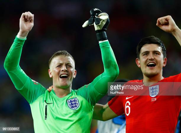 Round of 16 England v Colombia FIFA World Cup Russia 2018 Jordan Pickford and John Stones celebrate at Spartak Stadium in Moscow Russia on July 3 2018