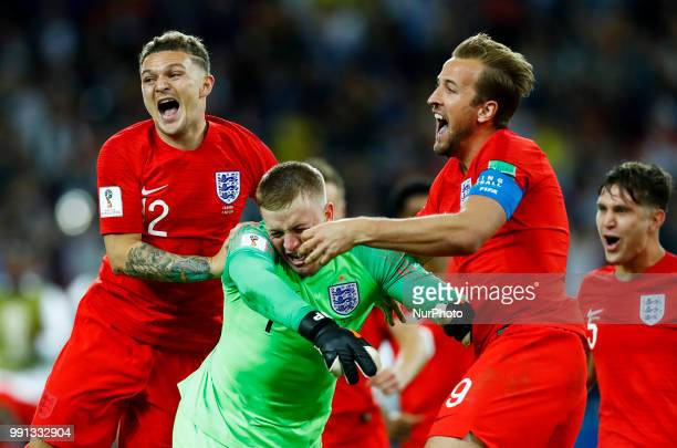 Round of 16 England v Colombia FIFA World Cup Russia 2018 Kieran Trippier and Harry Kane celebrate with Jordan Pickford at Spartak Stadium in Moscow...