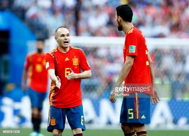 Round of 16 Russia v Spain FIFA World Cup Russia 2018 Andres Iniesta and Sergi Busquets at Luzhniki Stadium in Moscow Russia on July 1 2018