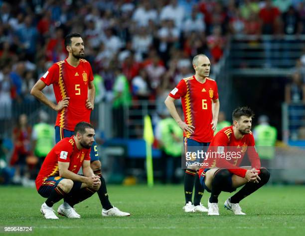 Round of 16 Russia v Spain FIFA World Cup Russia 2018 Dani Carvajal Sergi Busquets Andres Iniesta and Gerard Pique during the penalty shootout at...