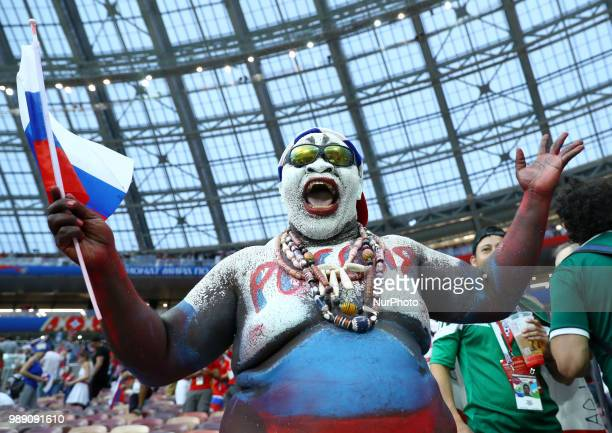Round of 16 Russia v Spain FIFA World Cup Russia 2018 Russia supporter at Luzhniki Stadium in Moscow Russia on July 1 2018
