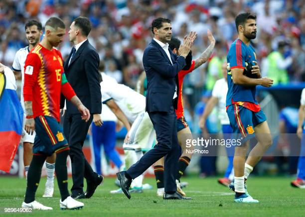 Round of 16 Russia v Spain FIFA World Cup Russia 2018 Sergio Ramos and Fernando Hierro dejection at Luzhniki Stadium in Moscow Russia on July 1 2018