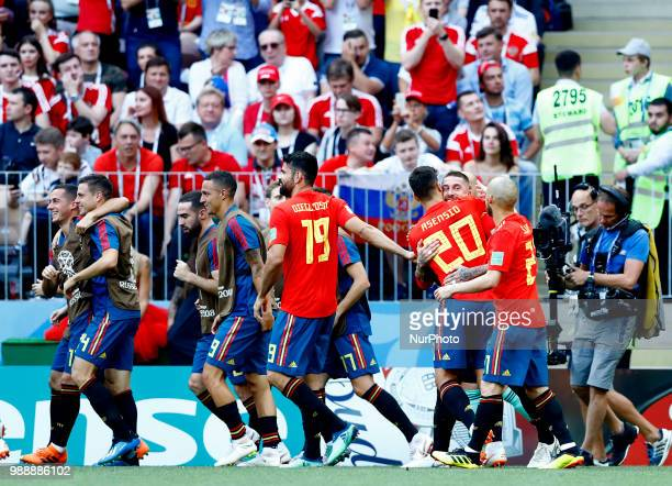 Round of 16 Russia v Spain FIFA World Cup Russia 2018 Spain celebrates the goal pf 01 scored by Sergio Ramos at Luzhniki Stadium in Moscow Russia on...