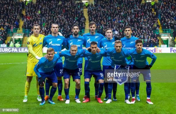 Round of 32 match between Celtic and Zenit St Petersburg at the Celtic Park Glasgow United Kingdom Zenit St Petersburg team Aleksander Kokorin Igor...