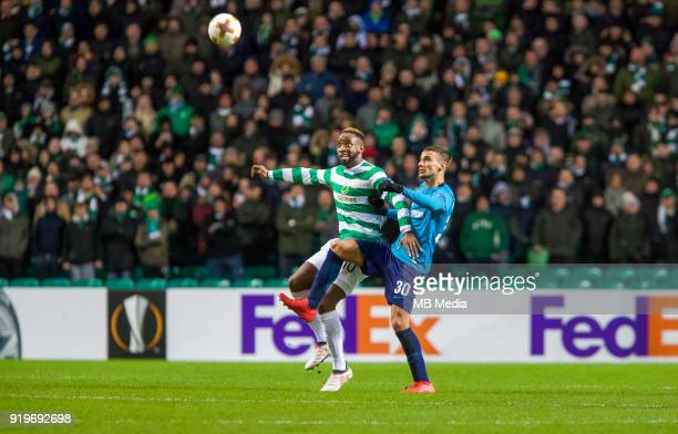 Round of 32 match between Celtic and Zenit St Petersburg at the Celtic Park Glasgow United Kingdom Moussa Dembele of Celtic and Emanuel Mammana of...