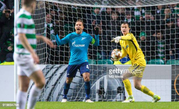 Round of 32 match between Celtic and Zenit St Petersburg at the Celtic Park Glasgow United Kingdom Domenico Criscito of Zenit St Petersburg and...