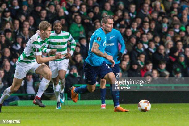 Round of 32 match between Celtic and Zenit St Petersburg at the Celtic Park Glasgow United Kingdom Anton Zabolotny of Zenit St Petersburg
