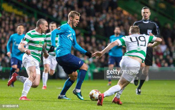Round of 32 match between Celtic and Zenit St Petersburg at the Celtic Park Glasgow United Kingdom Scott Brown of Celtic Aleksander Kokorin of Zenit...