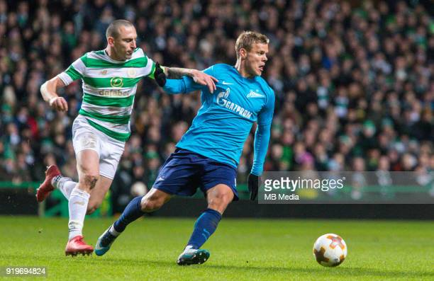 Round of 32 match between Celtic and Zenit St Petersburg at the Celtic Park Glasgow United Kingdom Scott Brown of Celtic and Aleksander Kokorin of...
