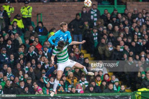 Round of 32 match between Celtic and Zenit St Petersburg at the Celtic Park Glasgow United Kingdom Aleksander Kokorin of Zenit St Petersburg and...