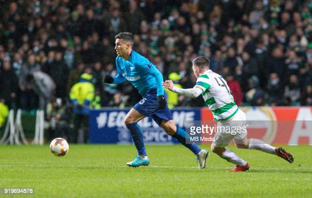 Round of 32 match between Celtic and Zenit St Petersburg at the Celtic Park Glasgow United Kingdom Leandro Paredes of Zenit St Petersburg and Callum...