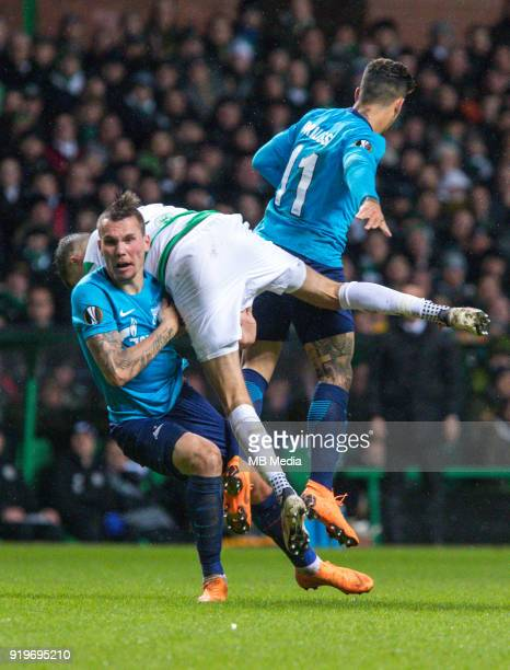 Round of 32 match between Celtic and Zenit St Petersburg at the Celtic Park Glasgow United Kingdom Anton Zabolotny of Zenit St Petersburg Mikael...