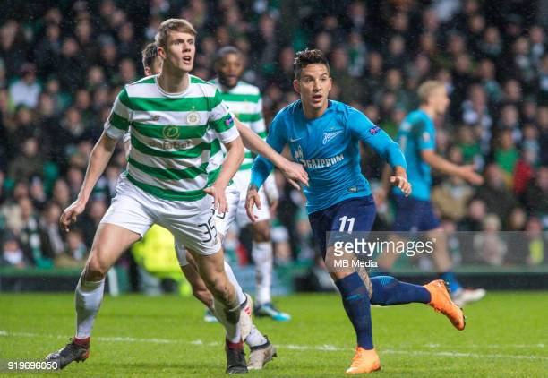 Round of 32 match between Celtic and Zenit St Petersburg at the Celtic Park Glasgow United Kingdom Kristoffer Ajer of Celtic and Sebastian Driussi of...