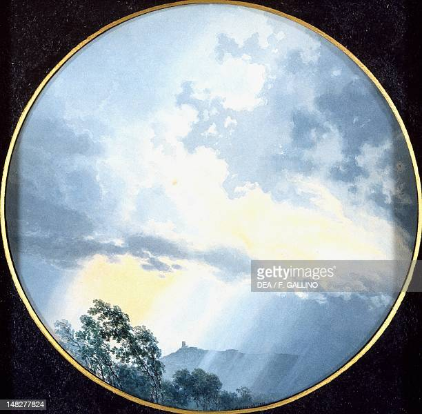 Round painting showing the sky and the effect of a storm between leaden and rosy clouds by Giovanni Battista de Gubernatis watercolor on paper 23 cm...