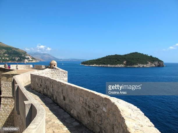 round path on the walls of Dubrovnik and lookout point over the Adriatic Sea and the island of Lokrum UNESCO World Heritage Site Croatia