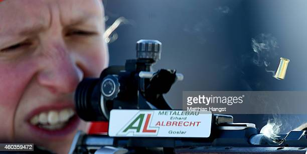 A round pops out of the rifle of Franziska Hildebrand of Germany at the zeoring for the women's 75 km sprint event during the IBU Biathlon World Cup...
