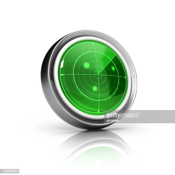 Round radar icon with green screen