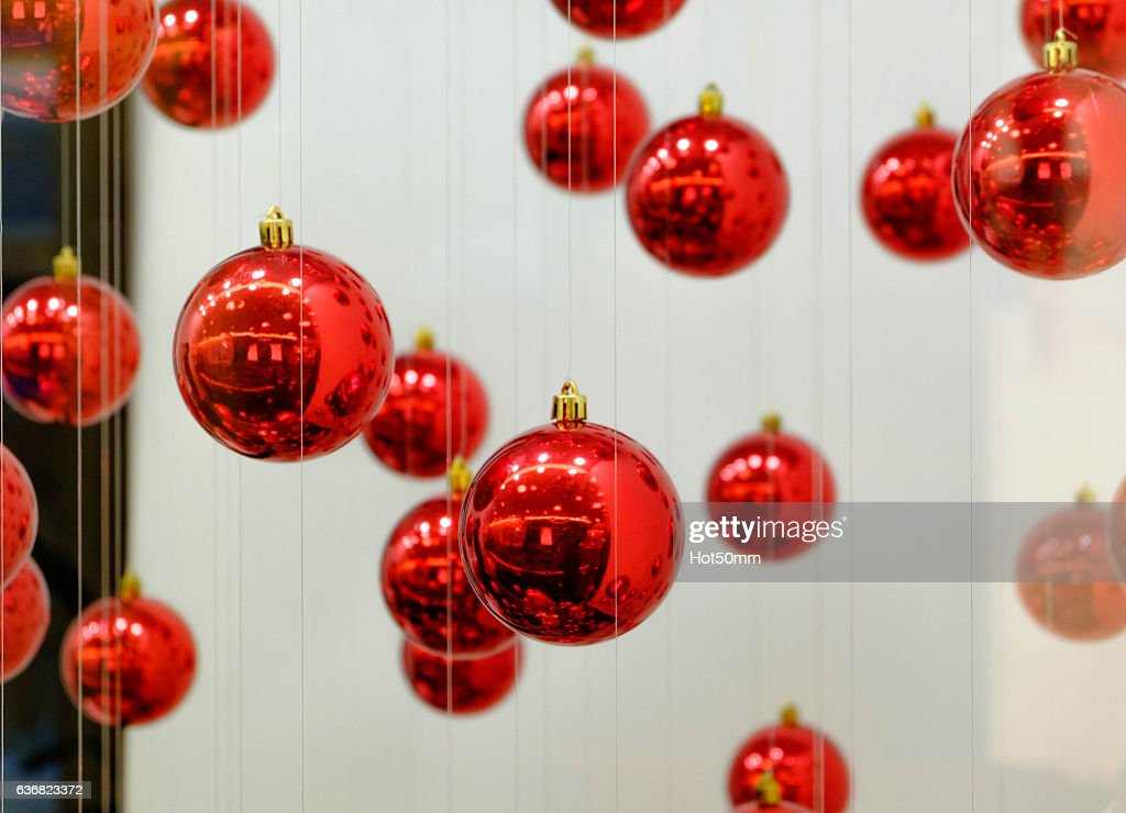 Round Red Balls To Decorate The Christmas Tree High-Res