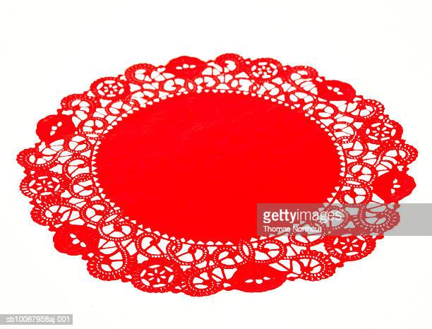 round red doily - doily stock photos and pictures