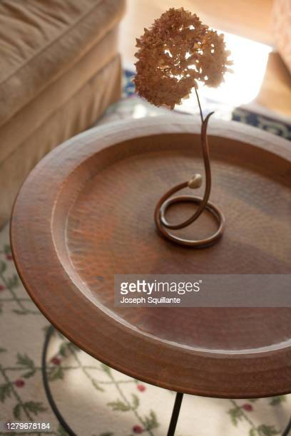 round side table with flower - joseph squillante stock pictures, royalty-free photos & images