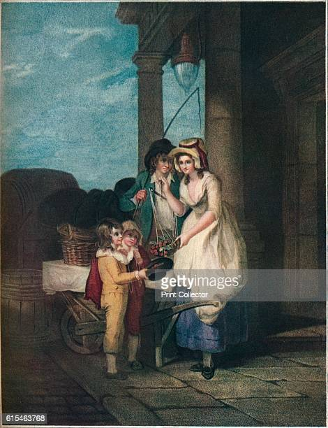 Round Sound Fivepence a Pound Duke Cherries' Cries of London c1870 A cherry seller weighing out the fruit in a set of scales The seller then tips it...