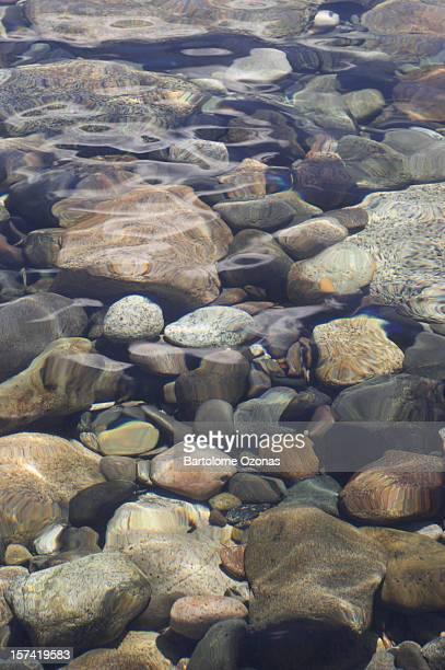 Round stones under water
