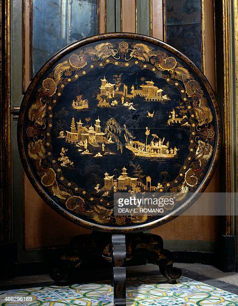 Round table with chinoiserie lacquered top Palazzo Biscari Catania Sicily Italy 19th century