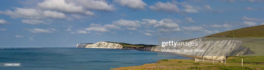Round the Island Race from Compton Bay. : Stock Photo