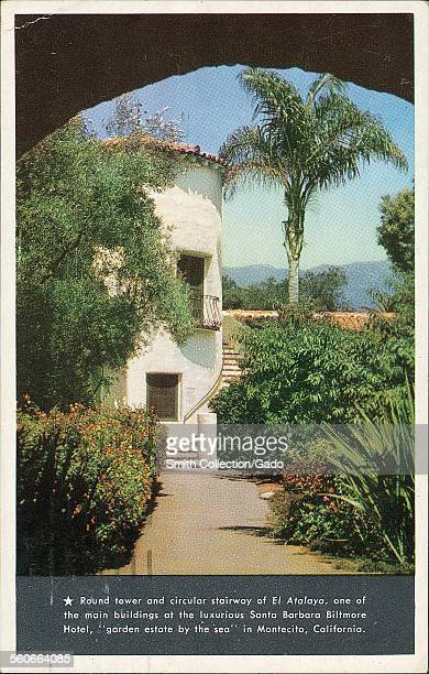 Round tower and circular stairway of El Atalaya Biltmore Hotel known as Garden Estate by the sea Montecito California 1930
