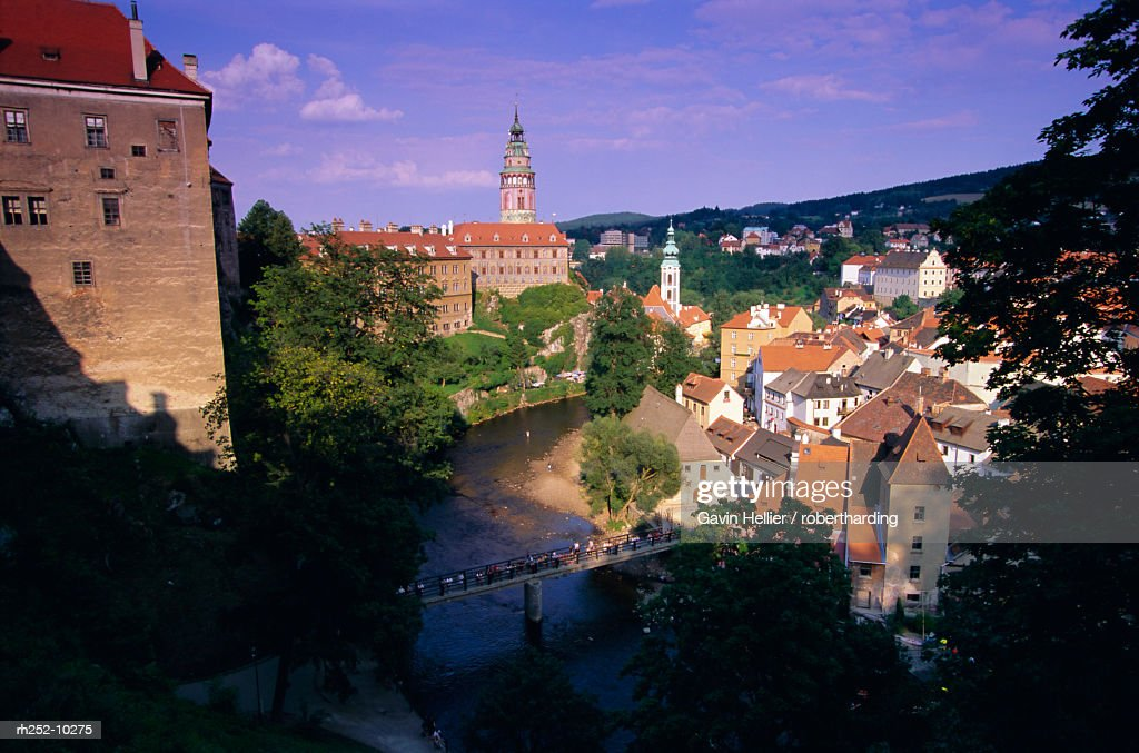Round Tower, Krumlov Castle, Cesky Krumlov, UNESCO World Heritage Site, South Bohemia, Czech Republic, Europe : Foto de stock