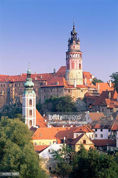 round tower, krumlov castle, cesky krumlov, unesco world heritage site, krumlov, south bohemia, czech republic, europe - cesky krumlov castle stock photos and pictures