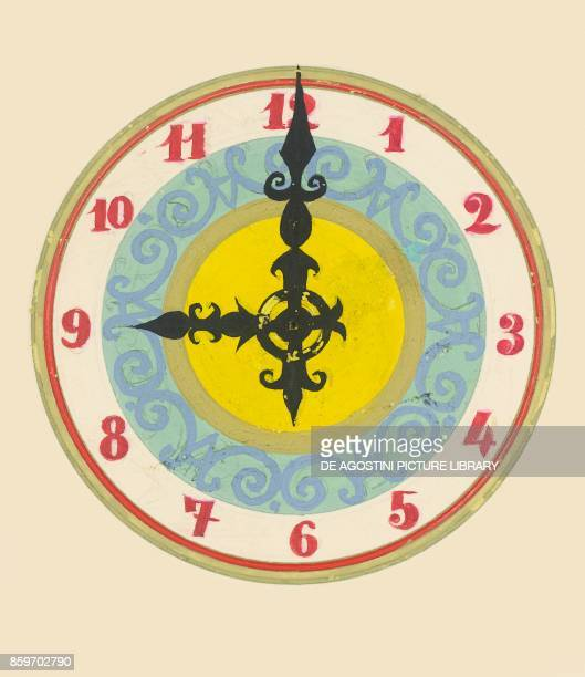 Round wall clock showing nine o'clock children's illustration drawing