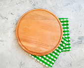 round wooden board towel