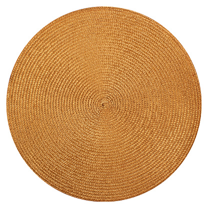 Round woven straw mat isolated on white background 625660480