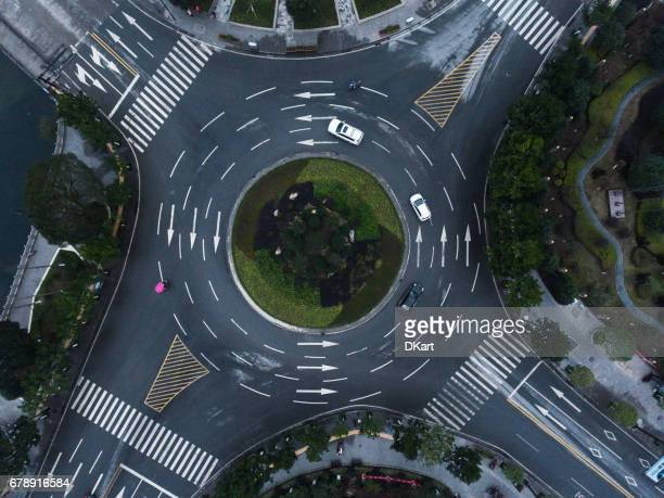 roundabaout aerial - circle stock pictures, royalty-free photos & images
