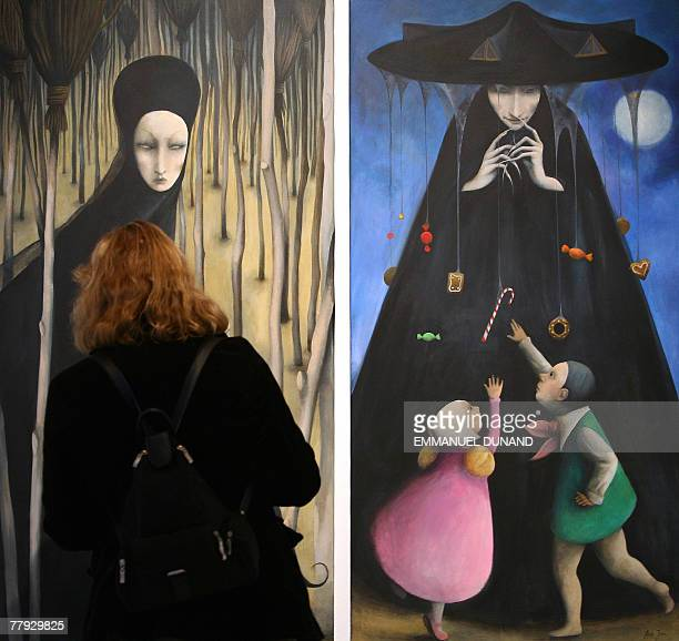 'Roundabout The Witch' a painting by artist Ana Juan is on display at an exhibition by New Yorker magazine artists inspired by the Grimm Brothers...