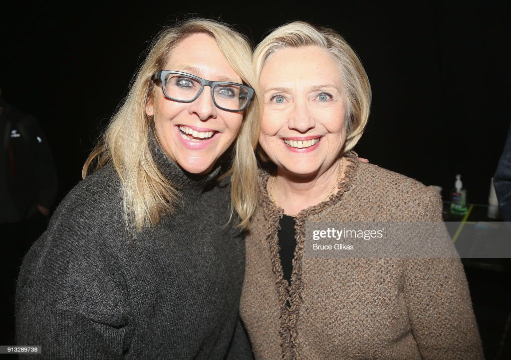 Roundabout Theatre Company General Manager Sydney Beers and Hillary Cllinton pose backstage at The Roundabout Theatre Company's hit production of 'John Lithgow: Stories By Heart' on Broadway at The American Airlines Theatre on February 1, 2018 in New York City.