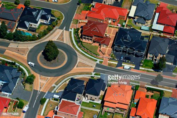 roundabout, west hoxton, western sydney, aerial photography - west direction stock pictures, royalty-free photos & images
