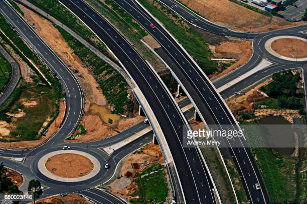 Roundabouts and freeway, Prestons, Western Sydney, Aerial Photography