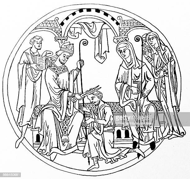 Roundel depicting a Novice receiving the tonsure The shaving of the head was a mark of slavery in Roman times and was adapted by the early monks...