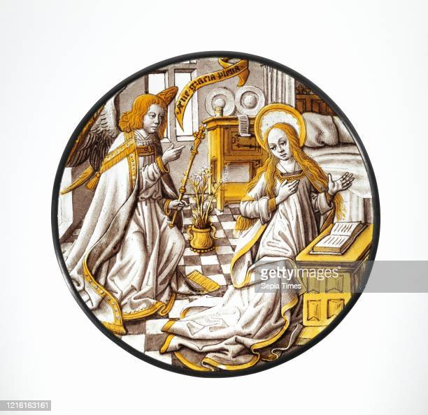 Roundel with Annunciation to the Virgin, 1500-1510, South Netherlandish, Colorless glass, vitreous paint and silver stain, Overall: 8 7/8 in. ,...