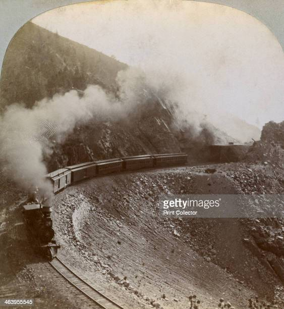 Rounding the curves on Marshall Pass Colorado USA 1898 Detail from a stereoscopic card The railway line over Marshall Pass was completed in 1881 for...