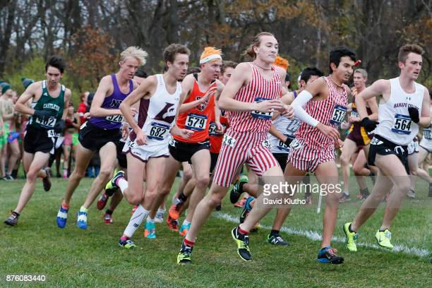 Rounding the turn during the Division III Men's and Women's NCAA Photos via Getty Images Cross Country Championship held at the North Farm Facility...