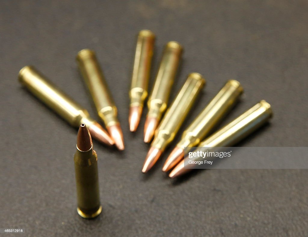 Rounds for an AR-15,  233 or 5 56 caliber, are shown at
