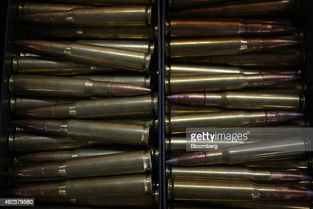 Rounds of 50 caliber ammunition are displayed for sale at a vendor's booth during the Fall 2015 Knob Creek Machine Gun Shoot in West Point Kentucky...