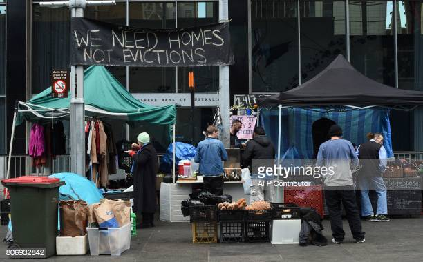 CORRECTION A roundtheclock free kitchen for the homeless is seen in front of the Reserve Bank of Australia in Sydney's central business district on...